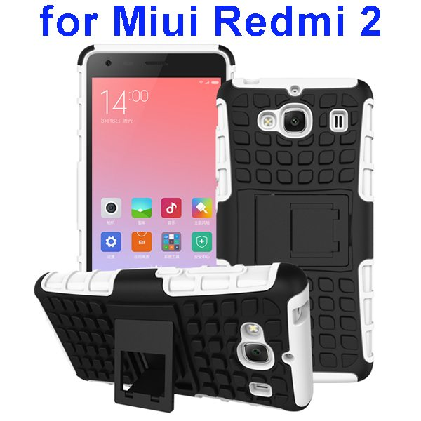 2 In 1 Pattern Silicone and PC Rugged Hybrid Case for Miui Xiaomi Redmi 2 with Kickstand (White)
