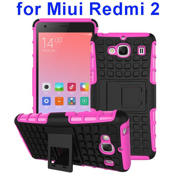 2 In 1 Pattern Silicone and PC Rugged Hybrid Case for Miui Xiaomi Redmi 2 with Kickstand (Rose)