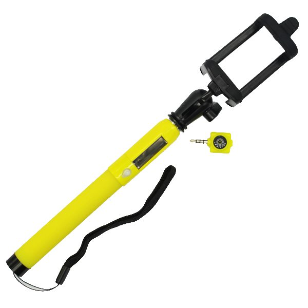 2015 New Product Solar Energy Charge Infrared Connection Selfie Stick Monopod for Smartphones (Yellow)
