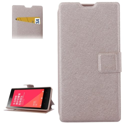 Horizontal Flip Leather Case for Xiaomi Redmi 1s with Card Slots & Holder  (Golden)