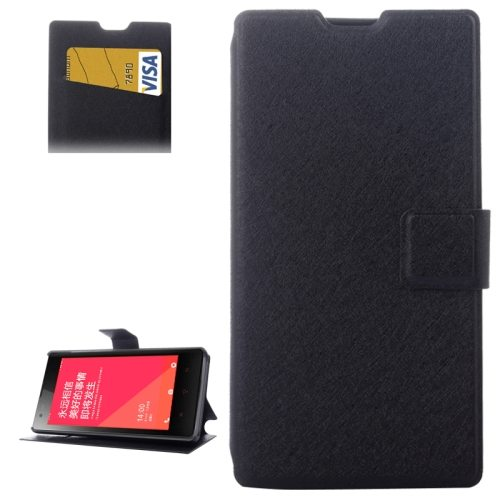 Horizontal Flip Leather Case for Xiaomi Redmi 1s with Card Slots & Holder(Black)