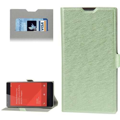 Horizontal Flip Leather Case for Xiaomi Redmi 1s with Card Slots & Holder (Green)