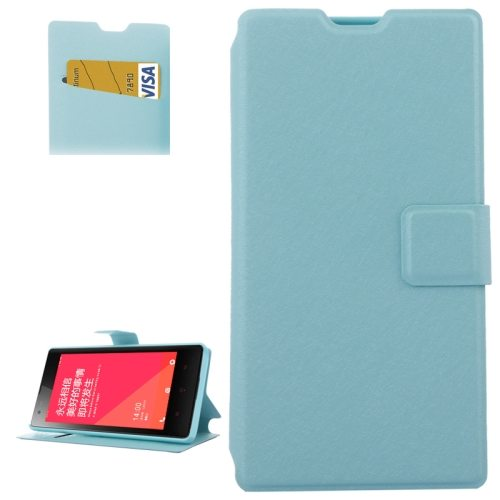 Horizontal Flip Leather Case for Xiaomi Redmi 1s with Card Slots & Holder (Blue)