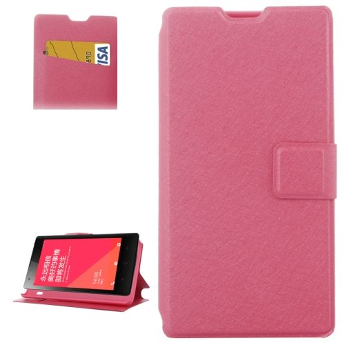 Horizontal Flip Leather Case for Xiaomi Redmi 1s with Card Slots & Holder (Rose)