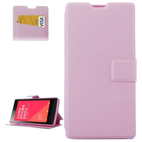 Horizontal Flip Leather Case for Xiaomi Redmi 1s with Card Slots & Holder (Pink)
