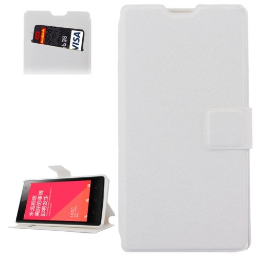 Horizontal Flip Leather Case for Xiaomi Redmi 1s with Card Slots & Holder (White)