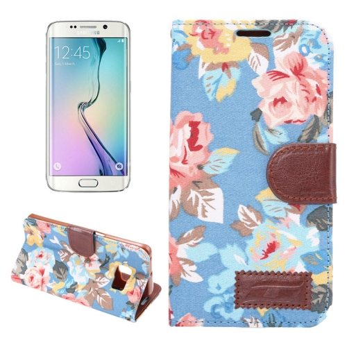 Flower Pattern Flip Wallet Leather Case Cover for Samsung Galaxy S6 Edge(Blue)