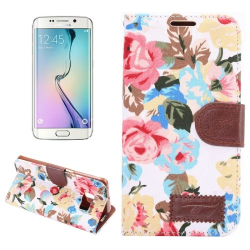 Flower Pattern Flip Wallet Leather Case Cover for Samsung Galaxy S6 Edge(White)