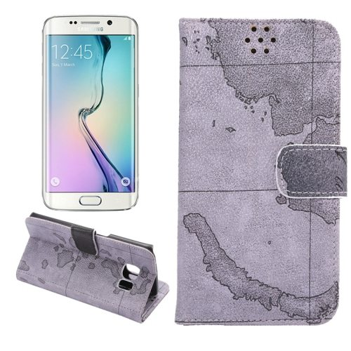 Map Design Wallet Flip Leather Case for Samsung GALAXY S6 Edge with Card Slots (Grey)