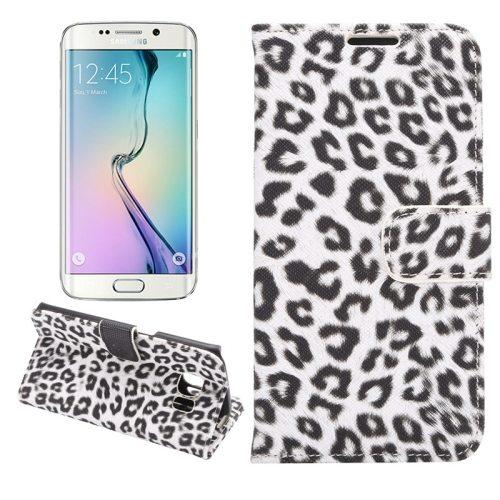 Leopard Texture Folio Flip Leather Wallet Case for Samsung Galaxy S6 Edge (White)