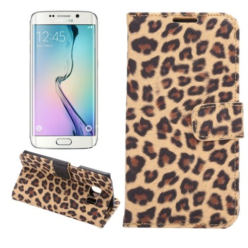Leopard Texture Folio Flip Leather Wallet Case for Samsung Galaxy S6 Edge (Gold)