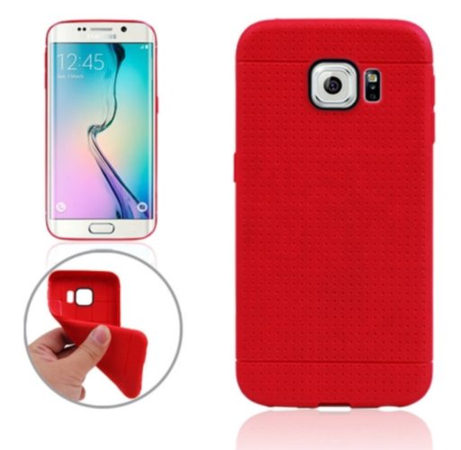 Honeycomb Surface TPU Protective Case for Samsung Galaxy S6 Edge (Red)