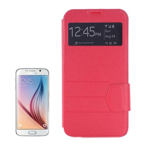 Frosted Stripe Texture Flip Case for Samsung Galaxy S6 Edge with Caller ID Display Window (Red)