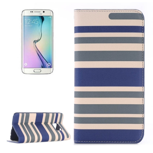 Color Stripe Matching Texture PU Mobile Phone Case Cover for Samsung Galaxy S6 Edge (Grey+blue)