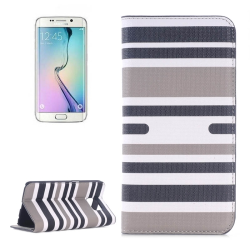 Color Stripe Matching Texture PU Mobile Phone Case Cover for Samsung Galaxy S6 Edge (Black+blue)