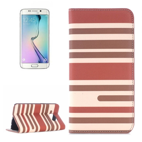 Color Stripe Matching Texture PU Mobile Phone Case Cover for Samsung Galaxy S6 Edge (Light Brown+Dark Brown)