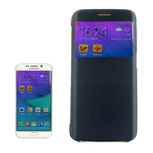 Cashmere Fiber Leather Case for Samsung Galaxy S6 Edge with Transparent Back Shell(Black)