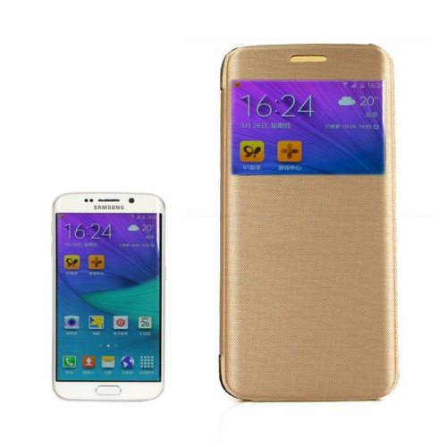 Cashmere Fiber Leather Case for Samsung Galaxy S6 Edge with Transparent Back Shell(Golden)