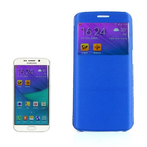 Cashmere Fiber Leather Case for Samsung Galaxy S6 Edge with Transparent Back Shell(Blue)