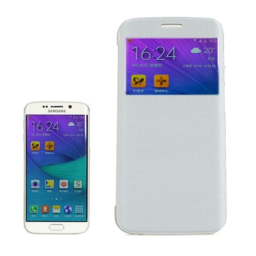 Cashmere Fiber Leather Case for Samsung Galaxy S6 Edge with Transparent Back Shell(White)