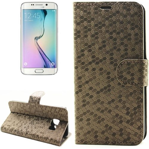 Diamond Texture Wallet Pattern Flip Leather Case for Samsung Galaxy S6 Edge with Card Slots & Stand (Coffee)