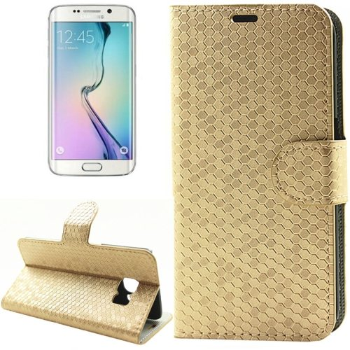 Diamond Texture Wallet Pattern Flip Leather Case for Samsung Galaxy S6 Edge with Card Slots & Stand (Gold)
