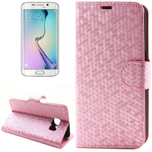 Diamond Texture Wallet Pattern Flip Leather Case for Samsung Galaxy S6 Edge with Card Slots & Stand (Magenta)