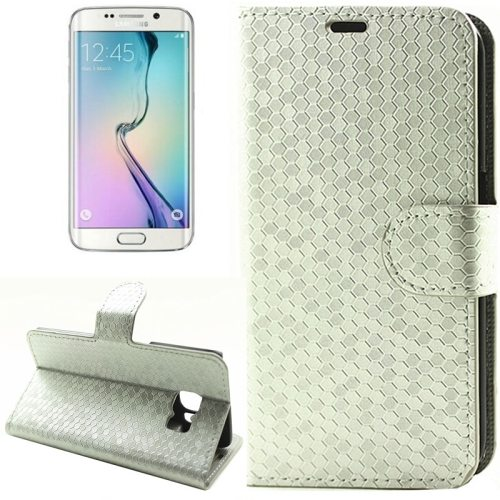 Diamond Texture Wallet Pattern Flip Leather Case for Samsung Galaxy S6 Edge with Card Slots & Stand (Silver)