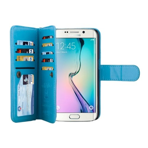 2 in 1 Separable Leather Case for Samsung Galaxy S6 Edge with Nine Card Slots & Lanyard (Blue)