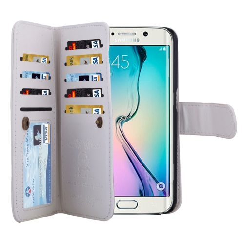 2 in 1 Separable Leather Case for Samsung Galaxy S6 Edge with Nine Card Slots & Lanyard (White)
