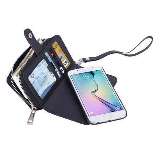 Detachable 2 in 1 Zipper Wallet Leather Case for Samsung Galaxy S6 Edge with Lanyard