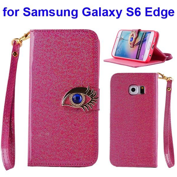 Fashion Blue Eagle Eye Flip Leather Case for Samsung Galaxy S6 Edge (Rose)