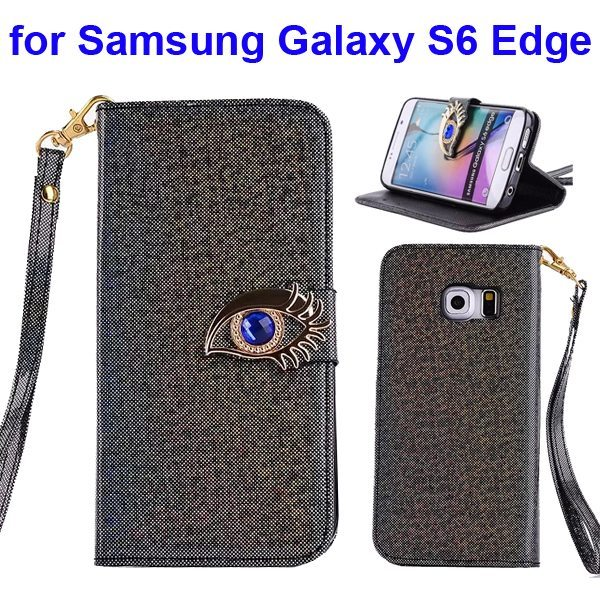 Fashion Blue Eagle Eye Flip Leather Case for Samsung Galaxy S6 Edge  (Black)