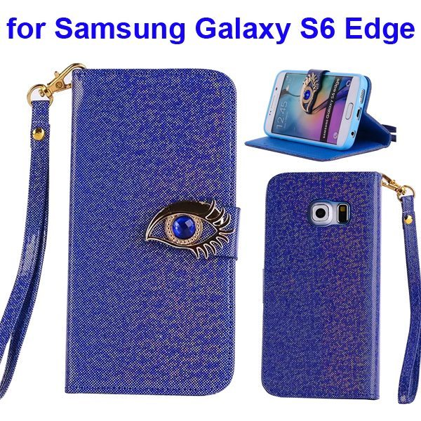 Fashion Blue Eagle Eye Flip Leather Case for Samsung Galaxy S6 Edge  (Blue)