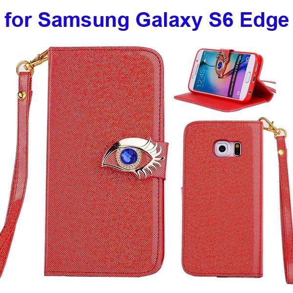 Fashion Blue Eagle Eye Flip Leather Case for Samsung Galaxy S6 Edge  (Orange)