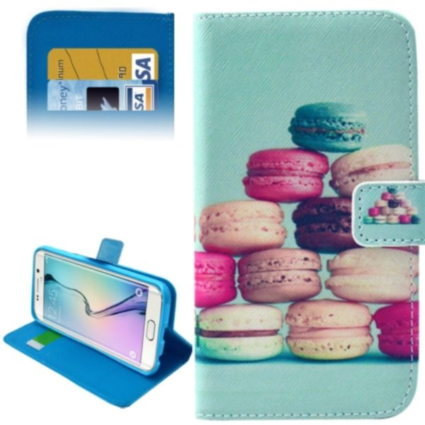 Leather Case for Samsung Galaxy S6 Edge / G9250 with Card Slots & Wallet (Macaroon Pattern)