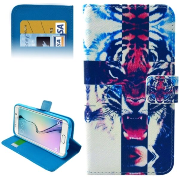 Leather Case for Samsung Galaxy S6 Edge / G9250 with Card Slots & Wallet (Tiger Pattern)