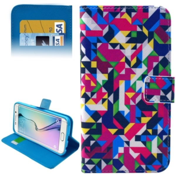 Leather Case for Samsung Galaxy S6 Edge / G9250 with Card Slots & Wallet (Ethnic Pattern)