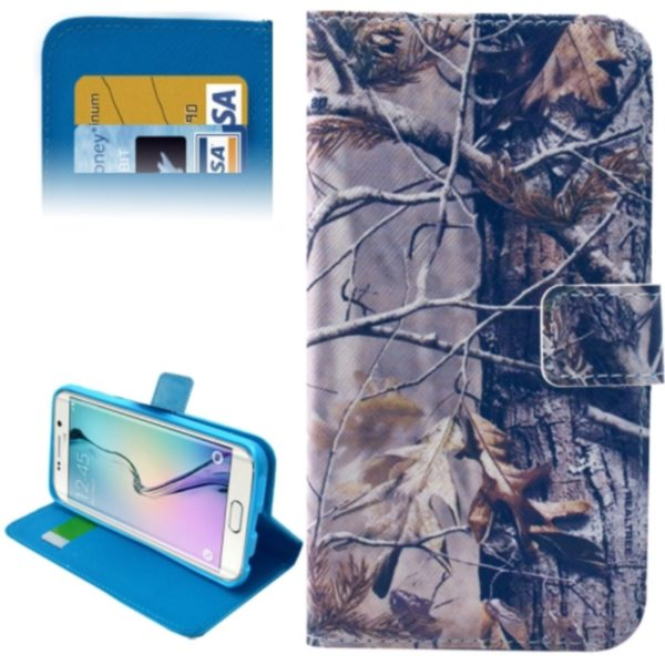 Leather Case for Samsung Galaxy S6 Edge / G9250 with Card Slots & Wallet (Dried Tree Pattern)