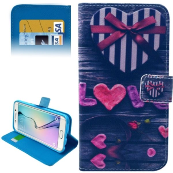 Leather Case for Samsung Galaxy S6 Edge / G9250 with Card Slots & Wallet (Heart Pattern)