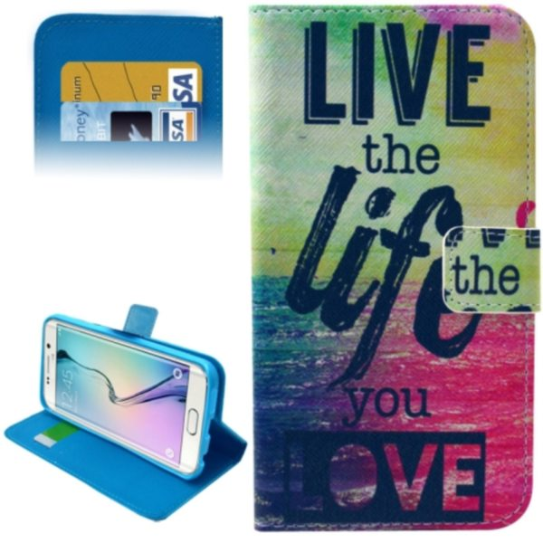 Leather Case for Samsung Galaxy S6 Edge / G9250 with Card Slots & Wallet (Text Graffiti Pattern)