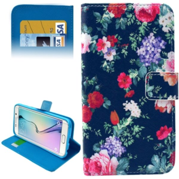 Leather Case for Samsung Galaxy S6 Edge / G9250 with Card Slots & Wallet (Flower Pattern)