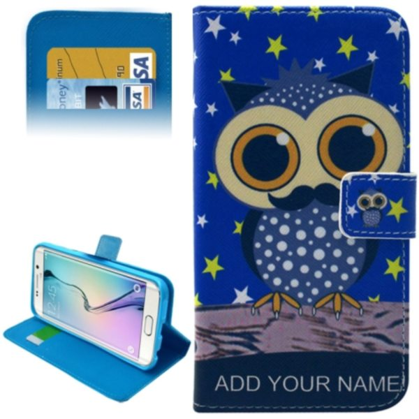 Leather Case for Samsung Galaxy S6 Edge / G9250 with Card Slots & Wallet (Owl Pattern)