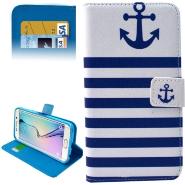 Leather Case for Samsung Galaxy S6 Edge / G9250 with Card Slots & Wallet (Blue Background & Text Pattern)
