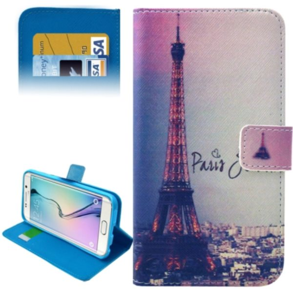 Leather Case for Samsung Galaxy S6 Edge / G9250 with Card Slots & Wallet (Eiffel Tower Pattern)