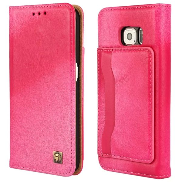 Wallet Style Lambskin Genuine Leather Case for Samsung Galaxy S6 Edge with Card Slots on the Back (Rose)