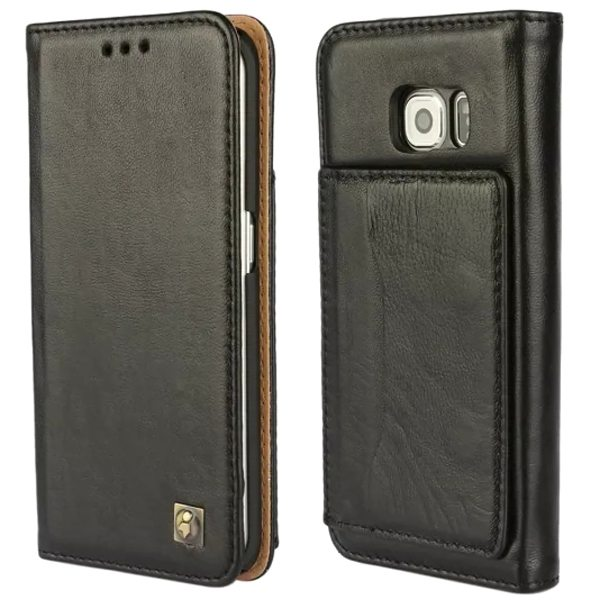 Wallet Style Lambskin Genuine Leather Case for Samsung Galaxy S6 Edge with Card Slots on the Back (Black)
