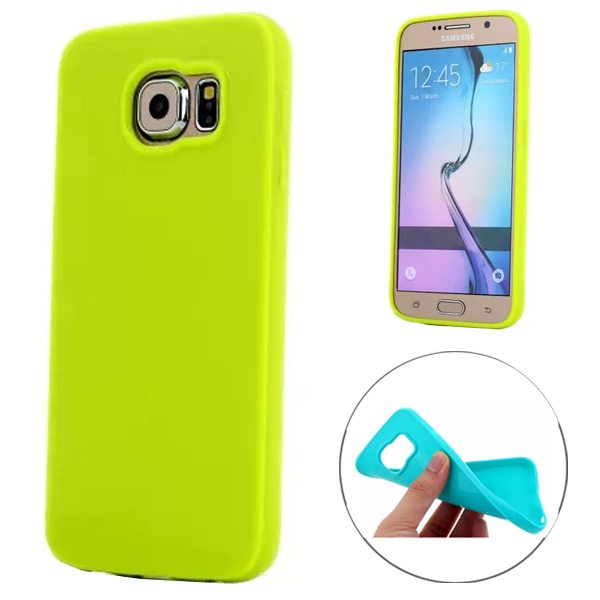 Fashion Style Solid Color Protection Soft TPU Case for Samsung Galaxy S6 Edge (Green)