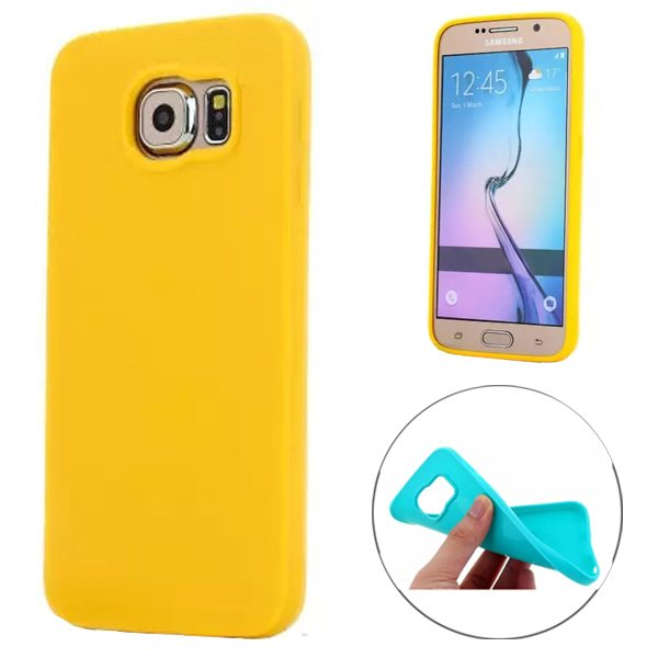 Fashion Style Solid Color Protection Soft TPU Case for Samsung Galaxy S6 Edge (Yellow)
