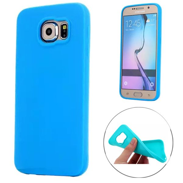 Fashion Style Solid Color Protection Soft TPU Case for Samsung Galaxy S6 Edge (Blue)